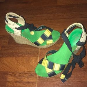 The Webster at Target Green&Yellow Wedges W/Straps